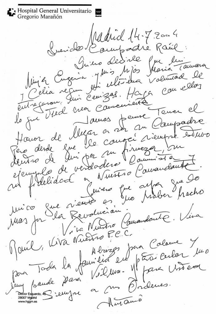 Mensaje de Antonio Gades en su lecho de muerte a Raúl Castro. Su última voluntad.