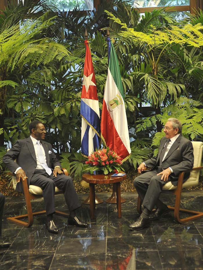 Recibe Raúl Castro a presidente de Guinea Ecuatorial
