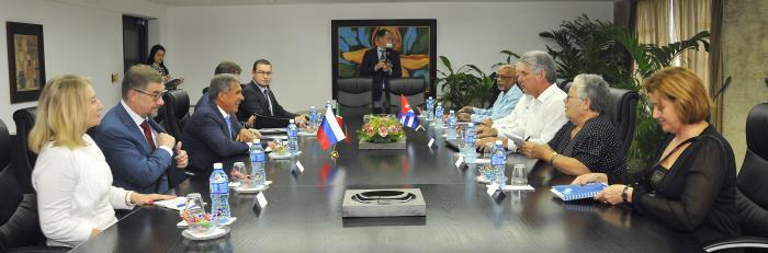 Cuba: Recibe Díaz-Canel al Presidente de la República de Tatarstán