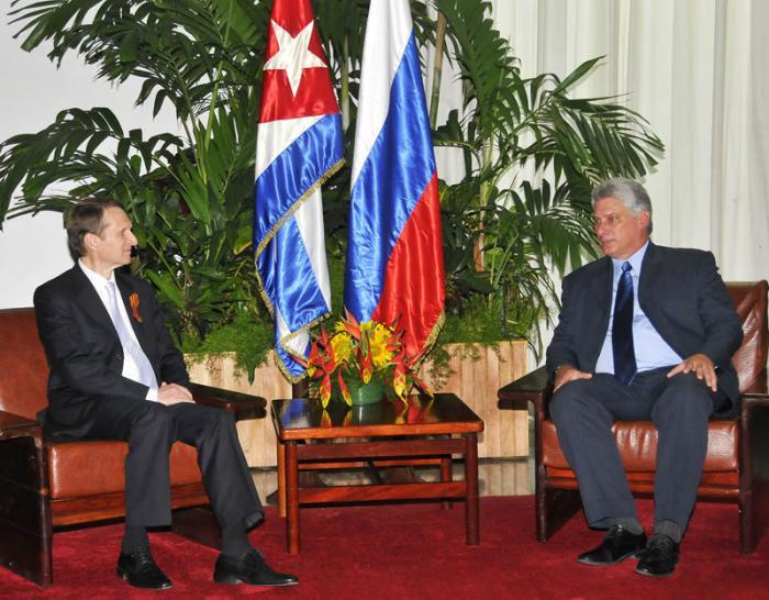 Recibe Díaz-Canel a Presidente de la Duma Estatal de Rusia