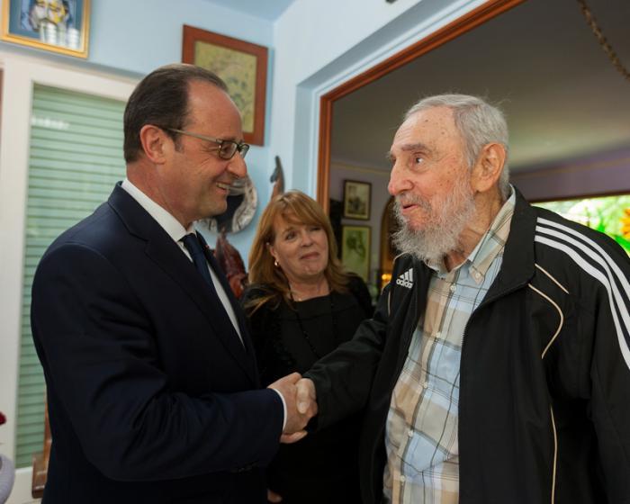 Encuentro del Comandante en Jefe Fidel Castro con el presidente de Francia, Francois Hollande.1