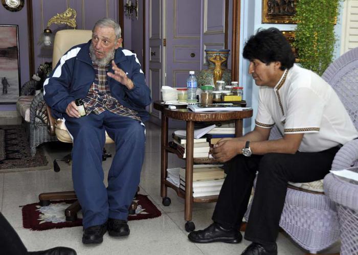 Fraternal encuentro de Fidel con Maduro y Evo