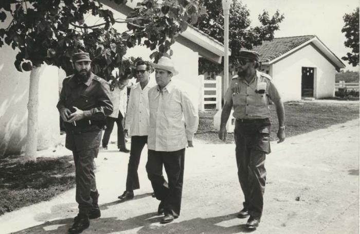 Visita a Cuba de Francois Mitterrand, Fidel Castro a su lado Foto: Arnaldo Santos   18/10/1974