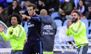Bale celebra el gol de la victoria en Anoeta.