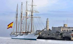 Arribo al puerto habanero del Buque Escuela de la armada española Juan Sebastián de Cano. En la ceremonia de bienvenida se encontraba el Sr. Embajador de España Juan Francisco Montalbán.