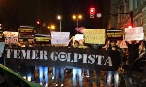 Los manifestantes solicitan la salida de Temer. Foto: Telesur