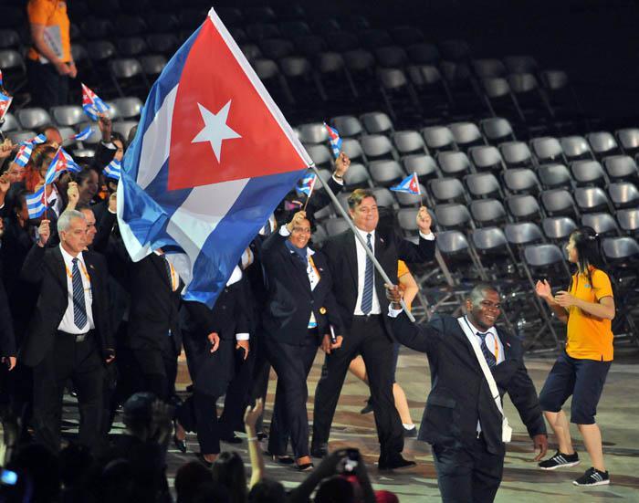 Inaguracion de los Juegos Panamericanos Toronto 2015, delegacion cubana abanderado Mijain López