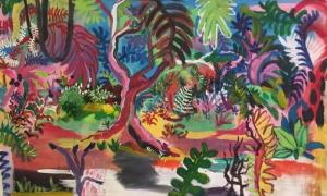 Bosque, imagen de una obra de Giorgia Rojas para el texto Cimarrón y los colores de la memoria, sobre una exposición titulada Raíces en homenaje a la obra de Barnet.