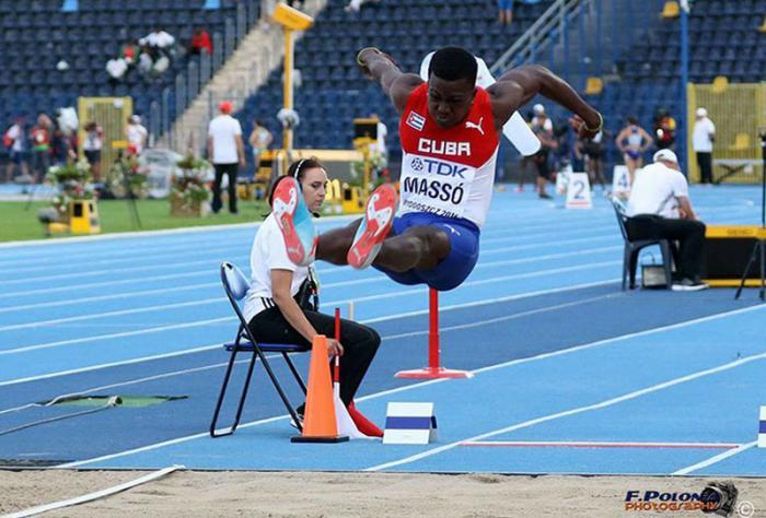 Maykel Masso, champion du monde junior du saut en longueur