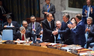 El presidente de Colombia, Juan Manuel Santos, entregó una copia del Acuerdo de Paz al Consejo de Seguridad en una sesión especial de ese órgano