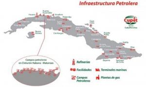La infraestructura petrolera cubana se extiende a través de toda la Isla.