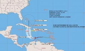 cono de trayectoria huracán matthew
