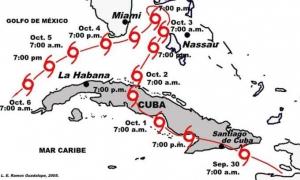 trayectoria descrita por el ciclón tropical Inez