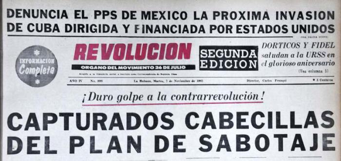 La portada del periódico Revolución del día 7 de noviembre de 1961 daba a conocer los detalles de la operación desmantelada.