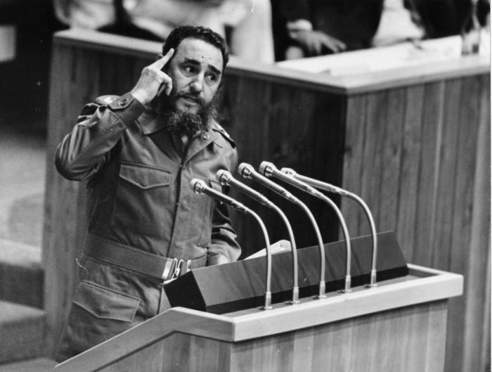 Fidel Castro interviene en la VI Cumbre de Paises no Alineados. MNOAL