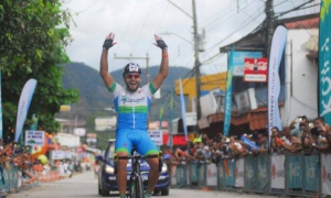 El joven costarricense de 19 años, Daniel Jara, ganó la primera etapa de la Vuelta a su país. Foto: Tomada de FECOCI