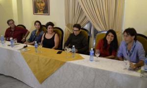 El colombiano Víctor Gaviria, la actriz argentina Mariana Loyola; Pepa San Martín, Moroco Colman, y los brasileños Marília Hughes y Cláudio Marques (de izquierda a derecha) durante la conferencia de prensa.