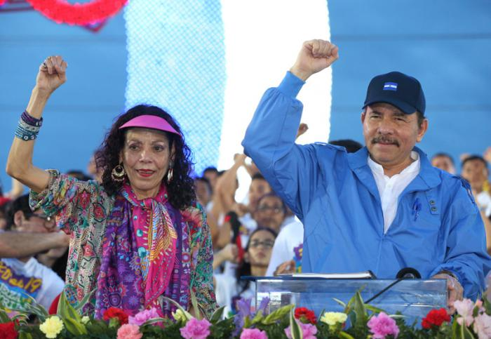 Los candidatos del FSLN, Rosario Murillo y Daniel Ortega, mantienen un amplio respaldo popular.