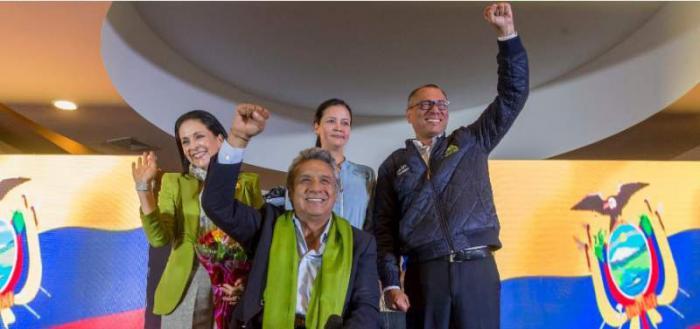 Lenín Moreno y Jorge Glas celebran el triunfo electoral en Ecuador. foto: El Telégrafo