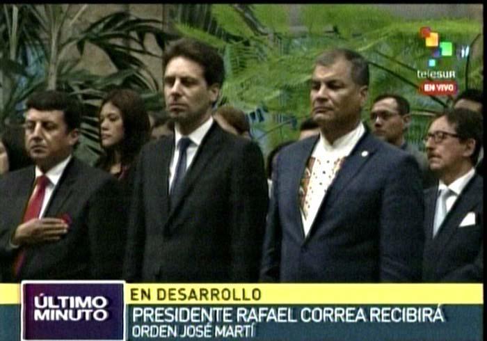 Confieren Orden José Martí al presidente ecuatoriano Rafael Correa