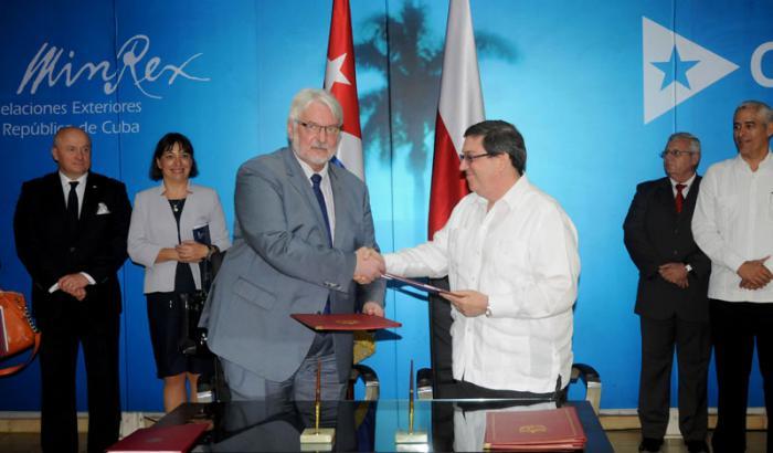 Recibió vicepresidente cubano Ricardo Cabrisas a Ministro de Asuntos Exteriores de Polonia