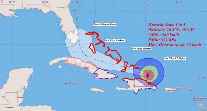 cono de trayectoria de huracán Irma