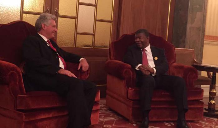 Recibe presidente de Angola Joao Lourenço a primer vicepresidente cubano Miguel Díaz-Canel