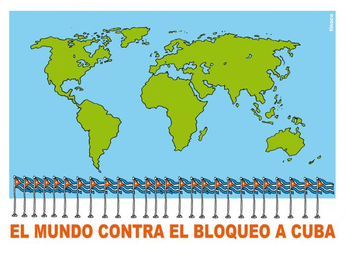 Caricaturas Cuba vs bloqueo
