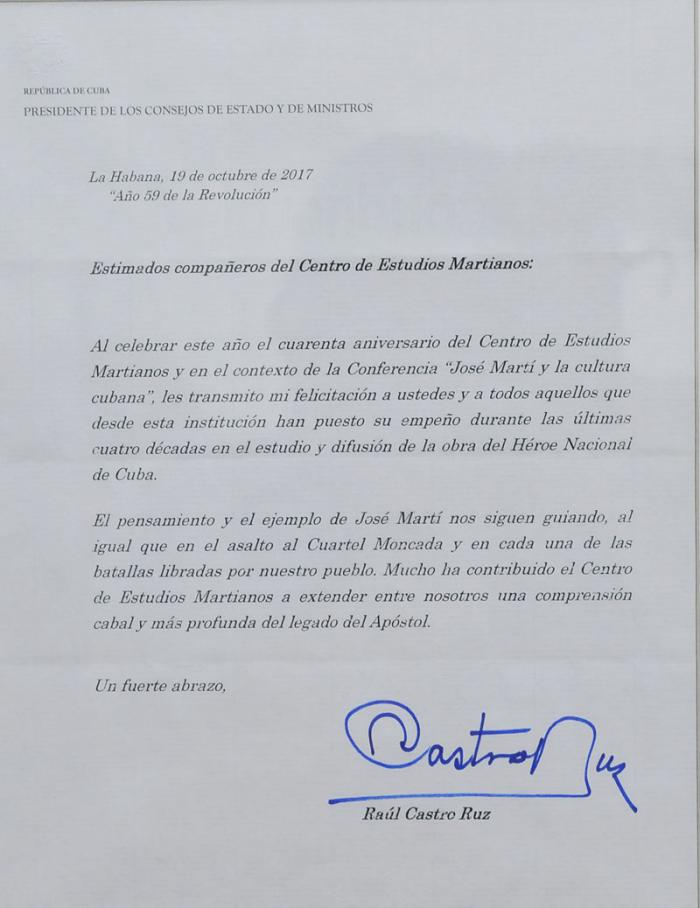 Envía Raúl Castro en Cuba felicitación al Centro de Estudios Martianos