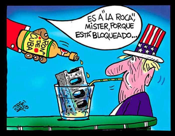 caricatura de bloqueo contra Cuba