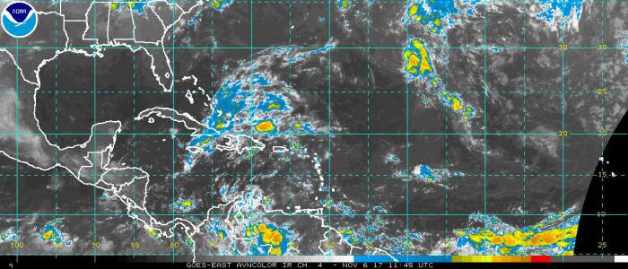 Aviso sobre nueva depresión tropical en el Atlántico. 6 de noviembre de 2017.