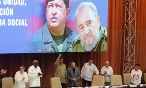 Acto de conmemoración por el XII Aniversario de la creación del ALBA-TCP. Presiden: General de Ejército Raúl Castro Ruz (Presidente del Consejo de Estado y de Ministros), Nicolás Maduro (Presidente de la República Bolivariana de Venezuela), José Ramon Mac