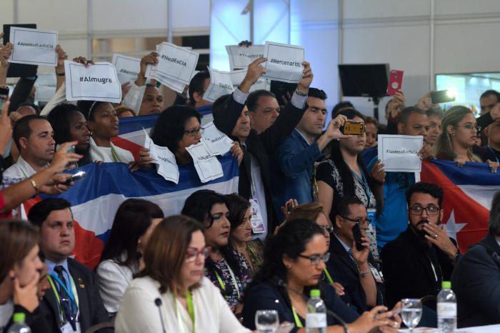La delegación cubana exigió con firmeza la retirada de los mercenarios.