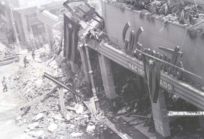 El frente de la tienda por la calle Galiano muestra los destrozos del sabotaje.