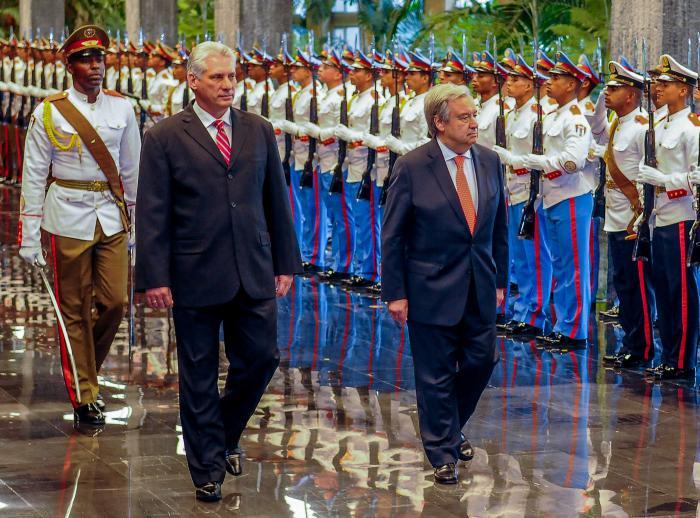 Antonio Guterres et Miguel Diaz-Canel, président cubain. Photo Estudios revolución