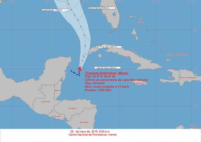 Tormenta subtropical Alberto se mueve hacia el canal de Yucatán