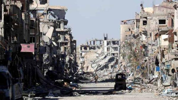 Zona destruida en Siria