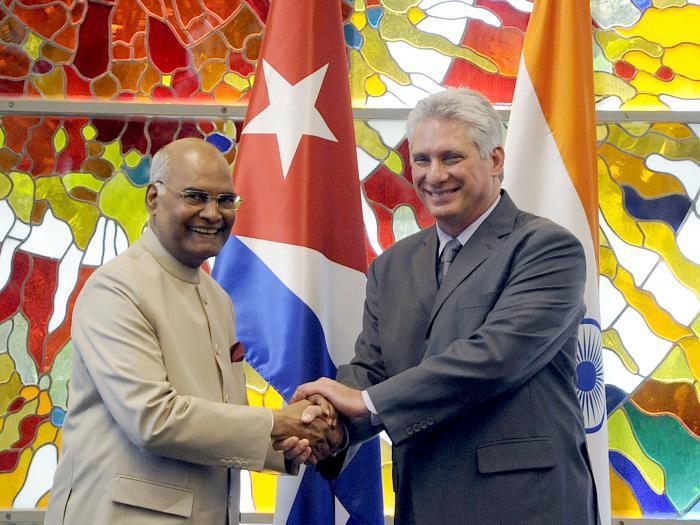 Presidente cubano recibió a su homólogo indio