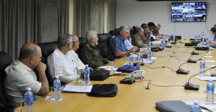 La recuperación en las provincias afectadas avanza, comentó durante la videoconferencia el Presidente de los Consejos de Estado y de Ministros, Miguel Díaz-Canel Bermúdez.  Foto: Estudios Revolución