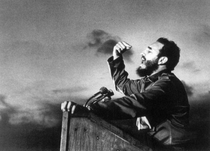 Fidel Castro, a master orator, delivers a speech circa 1960. Sovfoto/UIG/Getty Images