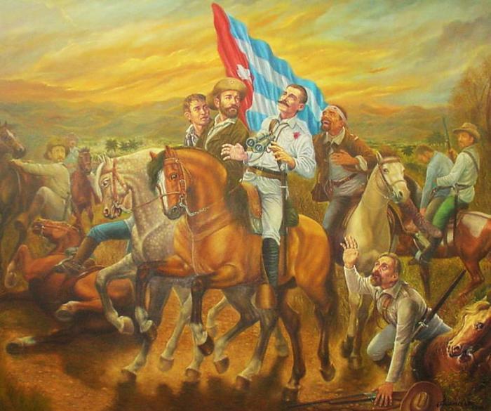 Óleo del pintor Francisco Rodríguez que recrea la muerte de Serafín Sánchez.