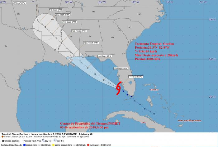 Tormenta tropical Gordon se dirige hacia el Golfo de México