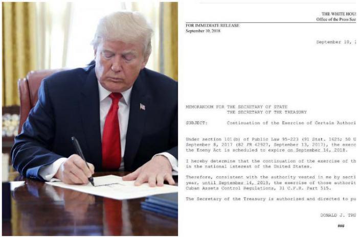 Trump prolonga, por otro año, ley que establece base del bloqueo a Cuba