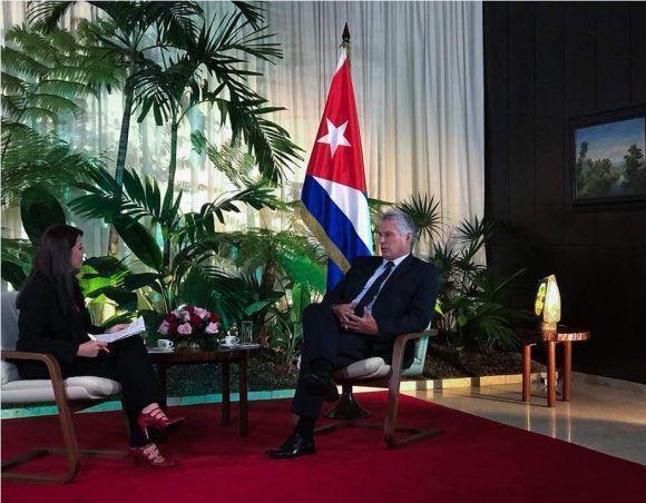 Patricia Villegas entrevista para Telesur a Miguel Díaz-Canel Bermúdez en La Habana.