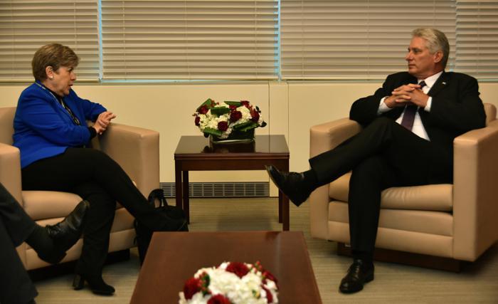 Díaz-Canel se entrevistó en con la secretaria ejecutiva de la CEPAL, Alicia Bárcenas.