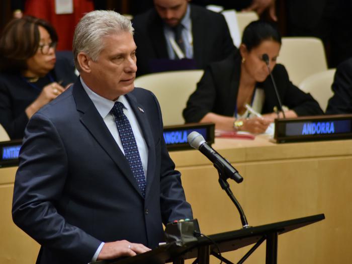 Presidente cubano Miguel Díaz-Canel en la ONU. Foto: Estudios Revolución