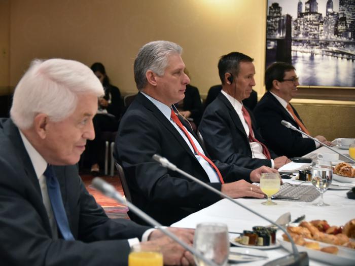 Díaz-Canel y directivos de Cámara de Comercio estadounidense valoran potencialidades de viajes a Cuba (+ Fotos)