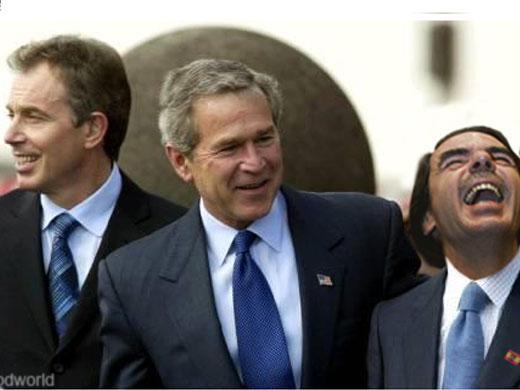 Bush, Tony Blair y Aznar concibieron y ejecutaron la guerra contra Irak, que costó más de un millón de muertos y heridos. foto: archivo granma