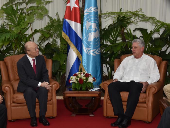 Recibió Díaz-Canel al Director General del Organismo Internacional de la Energía Atómica.