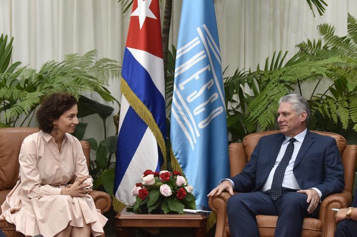 Díaz-Canel recibe a la Directora General de la UNESCO (+Fotos)